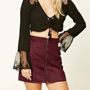 Maroon faux suede zip front mini skirt size M